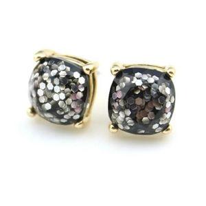 Black glitter earring studs